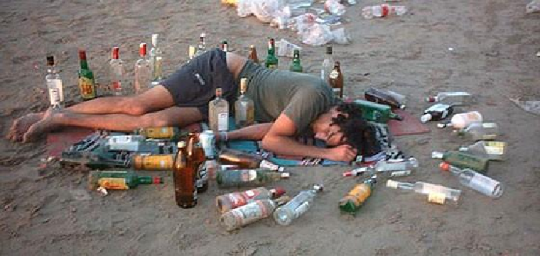 Botellón, Alcohol y borrachera.