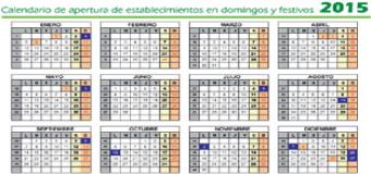 Aprobado el calendario de 2015 de apertura de establecimientos en domingos y festivos