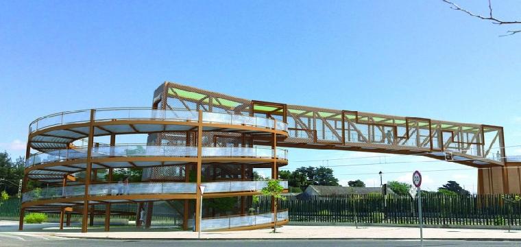 Una recreación de cómo será la pasarela peatonal sobre las vías del tren en Sanlúcar la Mayor.