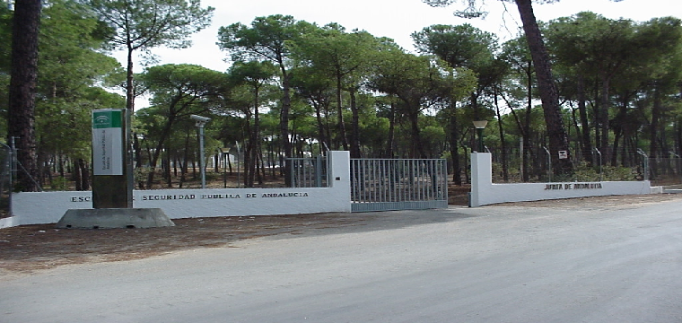 Entrada a la ESPA (Escuela de Seguridad Pública de Andalucía  en la localidad de Aznalcazar