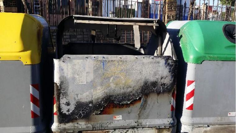 Estado en que ha quedado el contenedor después del incendio