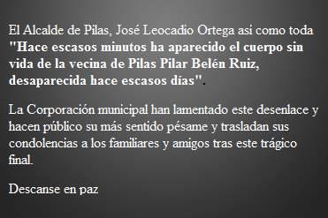 Comunicado del Alcalde de Pilas