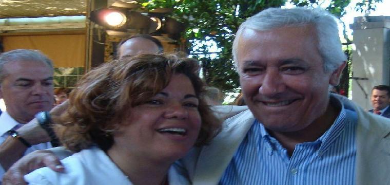 Javier Arenas junto a la Portavoz del Partido Popular de Huévar María Eugenia Moreno