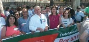 Concentración de alcaldes y ediles del PSOE de Sevilla por la PAC