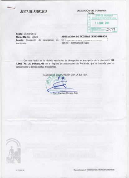 Denegación de la inscripción asociación taxistas Bormujos