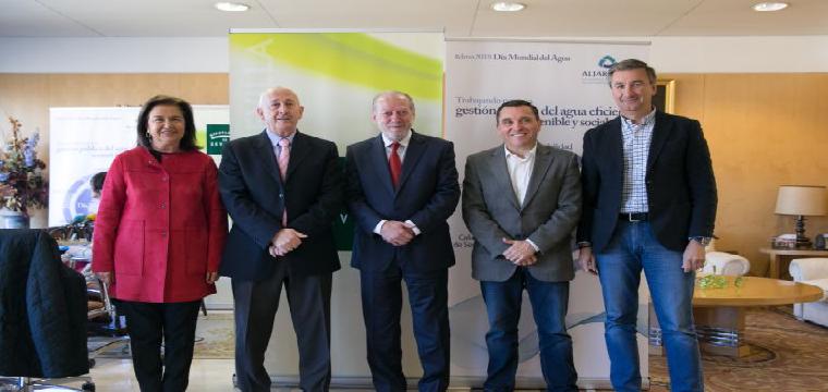De izda a dcha: Lola Rodríguez, Pedro Rodríguez, Fernando R. Villalobos, Joaquín Fernández Garro yAntonio Álvarez. / Diputacion de Sevilla