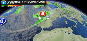 METEOROLOGÍA – Una borrasca afectará este jueves al noroeste: posible ciclogénesis explosiva