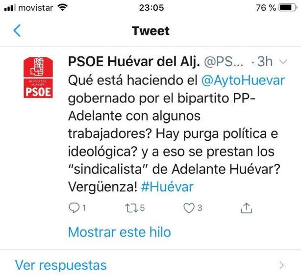 Twiter Grupo PSOE de Huévar