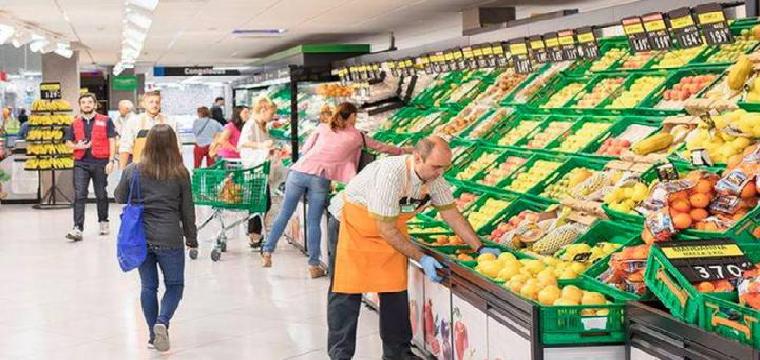 Sección de frutería de un mercadona